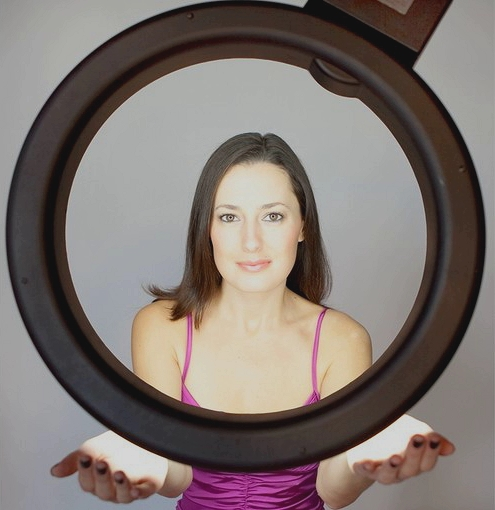 Ring light with woman