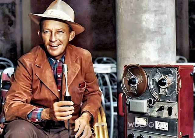 Bing Crosby with early tape recorder