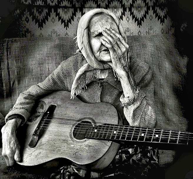 Old Lady with Guitar